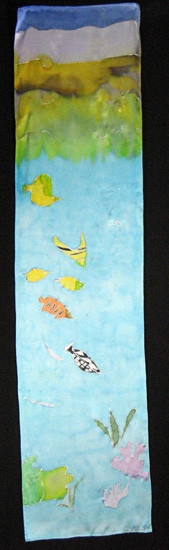 Oceanic Hand Painted Silk Scarf