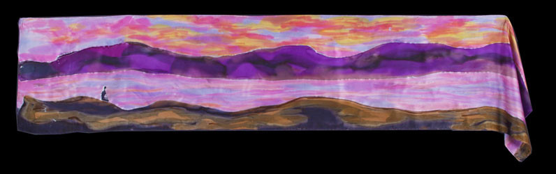 Sunset Hand Painted Silk Scarf